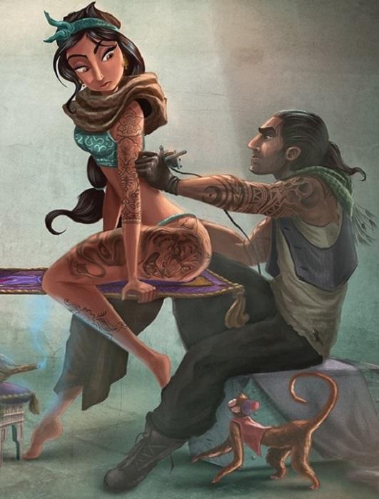 美國插畫家Joel Santana上個月才剛完成阿拉丁故事中茉莉公主,左大腿上的刺青是隻猛虎