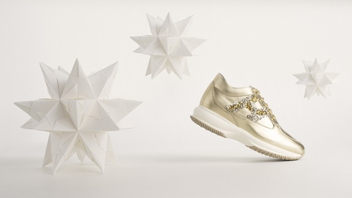 HOGAN亮片金屬皮革繫帶休閒鞋 (聖誕節限定款) $20,200