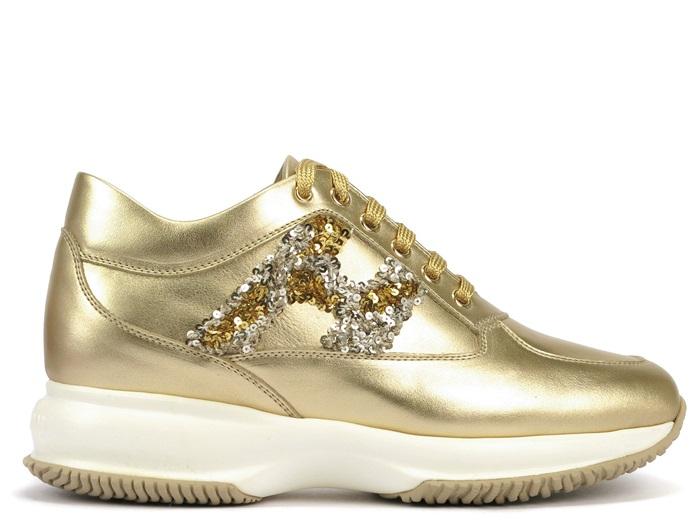 HOGAN亮片金屬皮革繫帶休閒鞋 $20,200