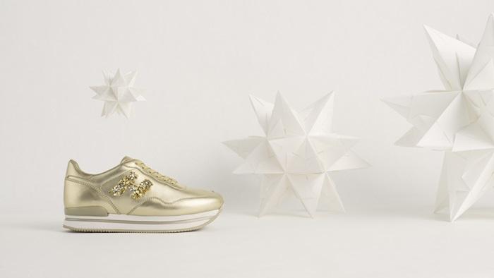 HOGAN亮片金屬皮革繫帶休閒鞋 (聖誕節限定款) $22,900