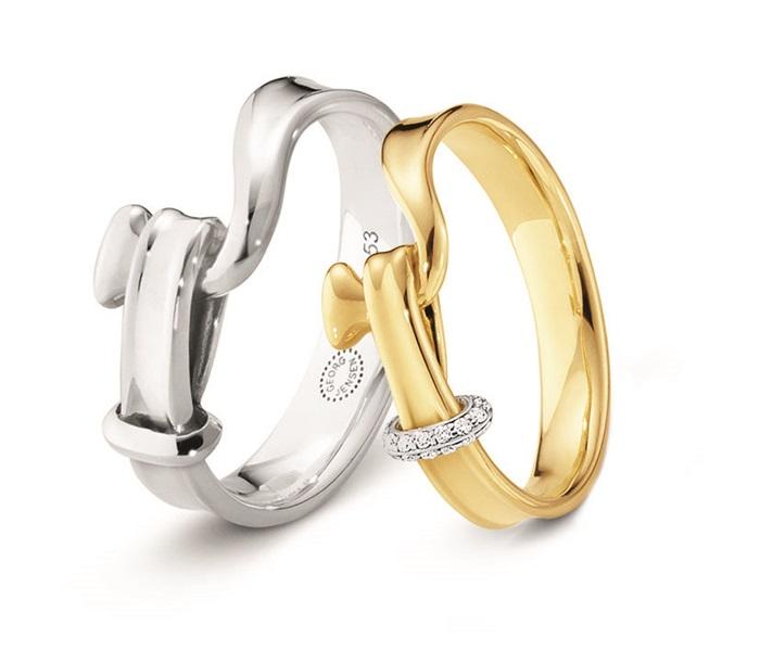GEORG JENSEN_TORUN 204 系列_(左)男士寬版純銀戒指_建議售價NT$6,300 (右)18K黃金鑲嵌明亮式切工鑽石戒指_建議售價NT$40,200