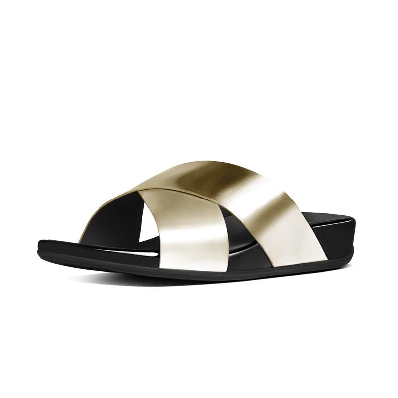 AIX™ SLIDE 交叉雙帶涼鞋 淡金色 建議售價5,650元