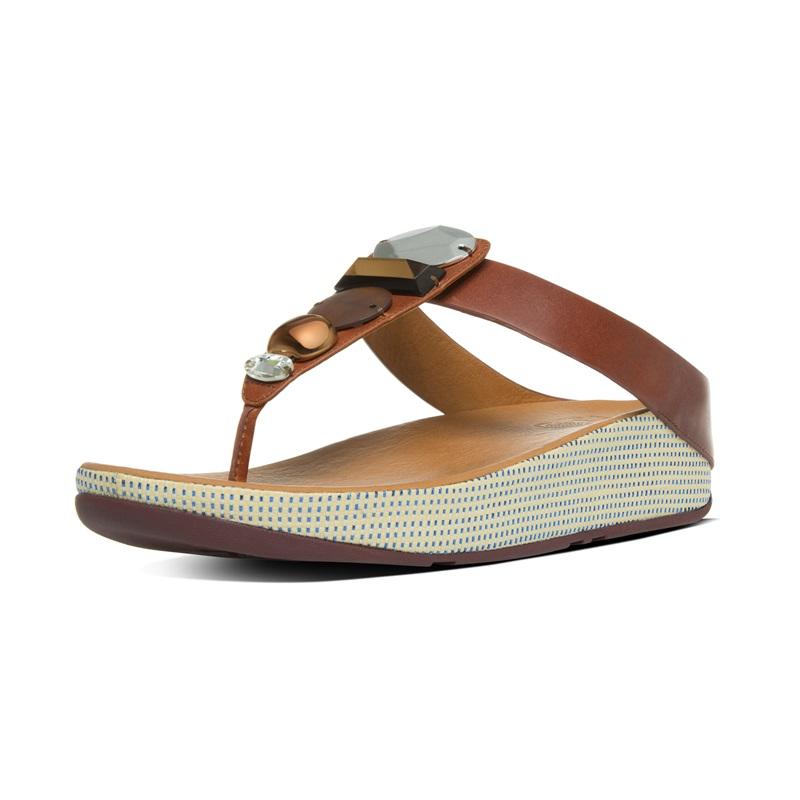 JEWELEY™ TOE-POST 華麗寶石皮革夾腳涼鞋 深褐色 建議售價4,850元