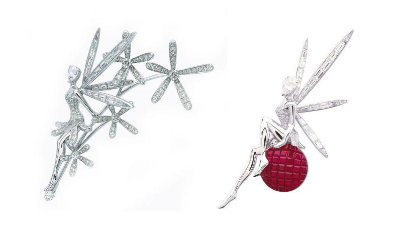 CARESSE D'EOLE FAIRY 胸針白K金,圓形、梯型與玫瑰形鑽石CARESSE D'EOLE FAIRY胸針白K金圓形、梯形與玫瑰形鑽石,紅金, 隱密式攘攘紅寶石