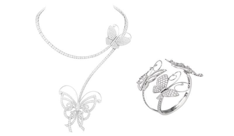 Flying Butterfly 項鍊白K金,圓鑽,可轉換式項鍊。Flying Butterfly 手鐲中型手鐲,白K金,307顆圓形鑽石達12.674克拉。