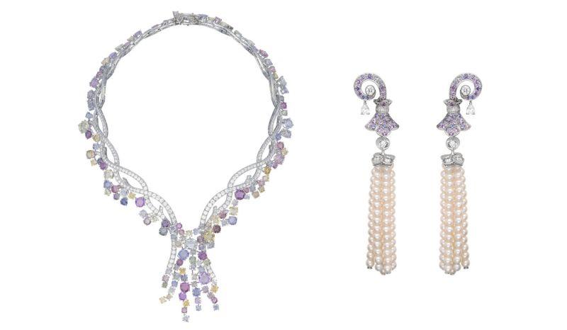Jardin Parfumé 項鍊白K金,鑽石,彩色剛玉。Victoria 耳夾圓形、梨形與方形鑽石,淡紫色剛玉, 珍珠。