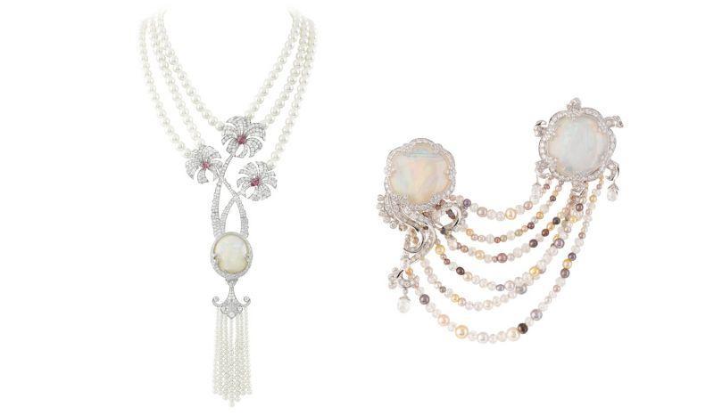 Joyful California 項鍊白K金,鑽石,珍珠,尖晶石以及一顆59.16克拉的蛋白石。Meduse Lune胸針白K金,鑽石,彩色天然珍珠,分別為16.77克拉與16.17克拉的蛋白石。