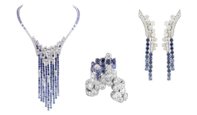 Gullfoss 項鍊、耳環、戒指白K金,鑽石與剛玉。
