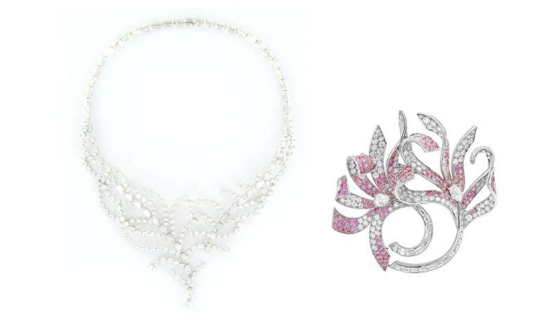 EUROPE 項鍊白K金,鑽石。EUROPE胸針白K金,鑽石,粉紅鑽石。