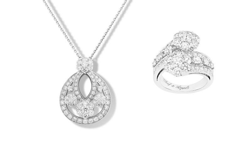 SNOWFLAKE 吊墜小型款式,鉑金,71顆圓形鑽石達3.14克拉。SNOWFLAKE戒指鉑金,50顆圓形鑽石達3.10克拉。