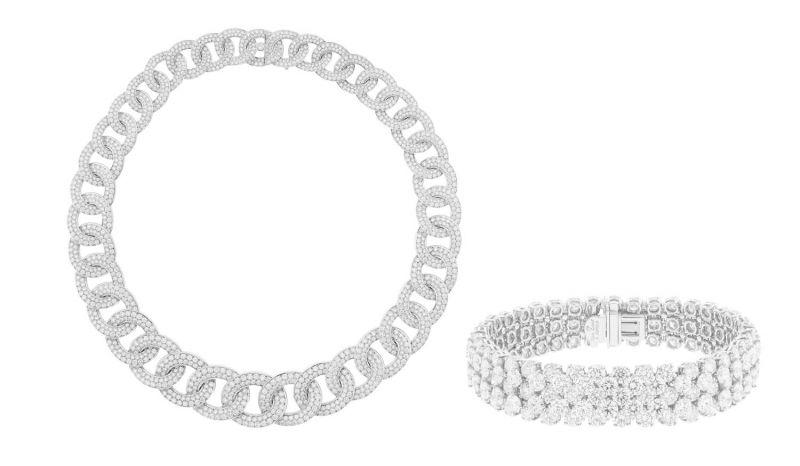 Olympia 項鍊A Cheval手鐲鉑金,白K金,圓鑽。