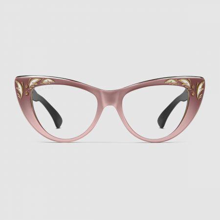 GUCCI 石英粉貓眼造型眼鏡$14,130