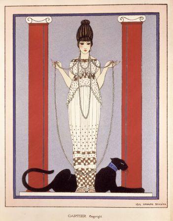 美洲豹圖騰的由來1914年,路易卡地亞(Louis Cartier, 1875-1942)向插畫家喬治巴比耶(George Barbier)訂製了一幅「美洲豹之女」(Lady of the Panther),用作品牌展覽邀請卡。這幅優雅的繪圖採用了Art Deco裝飾藝術晚期的風格,一位年輕女子身著保羅波瑞(Paul Poiret)設計的褶襉長袍,美洲豹則躺在她的腳邊作為背景的一部分。