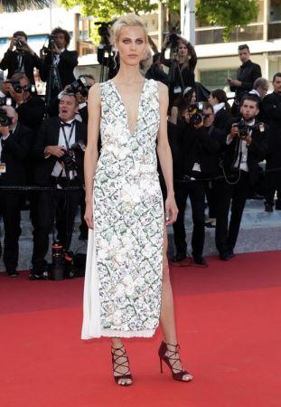 超模 艾梅琳瓦拉德(Aymeline Valade)穿著Dior刺繡印花高級訂製禮服出席電影《The Last Face最後的模樣》首映會