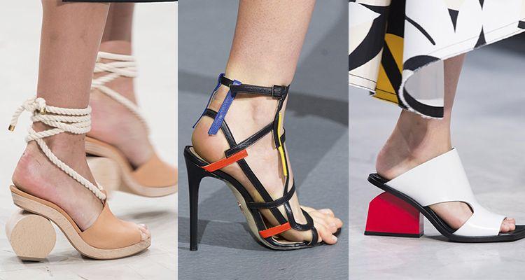 由左至右:Chalayan / Jean Pierre Braganza / Marni玩味幾何通常鞋子的設計總是依照腳的輪廓描繪,但如果在其中加入幾何圖形元素,馬上讓視覺效果呈現十分有趣的變化,有種突破框架的衝突感。