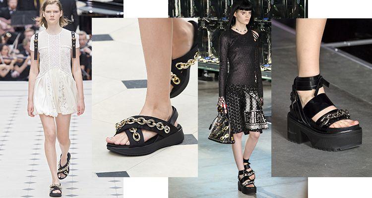 由左至右:Burberry / Louis Vuitton私心推薦不知為何,編最近真的很迷以金屬鏈條裝飾的涼鞋款式,重點是他們真的很好搭,即使是簡單的T Shirt牛仔褲,搭上一雙鐵鏈涼鞋就很帥!
