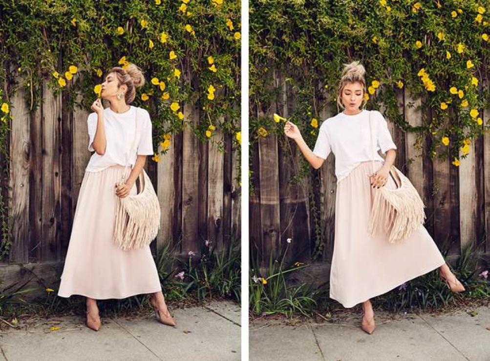 """淡雅漸層All-black、all-white同色系穿搭已經流行一陣子,但要更進階,其實可以用""""漸層系""""來做搭配,選擇白、粉膚、裸色、淡粉等深淺不一的同色系,就能穿出層次感。UNIQLO女裝長裙NT$790"""