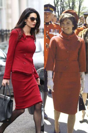 紅色排釦套裝 (2016 ; 1961)排釦套裝難免較為正式、拘謹的感覺,可以學Amal內搭黑色透膚絲襪和黑色墨鏡及黑包包等一致性的深色配件,讓整體看來更多了份神秘莫測的性感