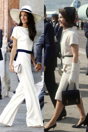 白色套裝 (2014 ; 1963)同樣的白色套裝+黑皮帶,Amal選擇用長褲搭出俐落感,黑帽則換成了白色的寬簷帽,輕鬆又多了份度假感