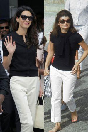 黑白休閒裝 (2015 ; 1968)同樣穿了黑色休閒上衣和白色直筒褲的兩人,Amal選擇了上衣胸前有小開口的設計,性感加分,賈桂琳則是多了綁帶披肩,較為端莊,各有特色
