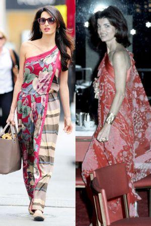斜肩印花裝 (2014 ; 1976)當年的賈桂琳即使民風保守, 但在穿著上仍很有自我風格,斜肩印花裝和寬版金飾手環在當時可說是相當前衛,在38年後,Amal穿上類似風格的洋裝仍舊時髦
