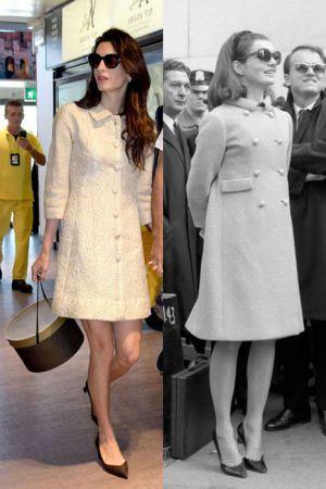 白色排釦洋裝(2016;1966)看來復古的排釦洋裝在時隔50年後,在Amal的詮釋下是否才發現原來一點都不落伍,而且還優雅的好想立刻去買一件來穿呢!