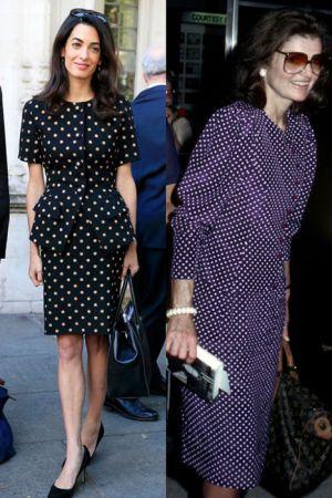 圓點及膝裙(2015;1980)看似復古的圓點及膝裙, 只要選擇像Amal比較大一點的圓點就能看來沒那麼難駕馭