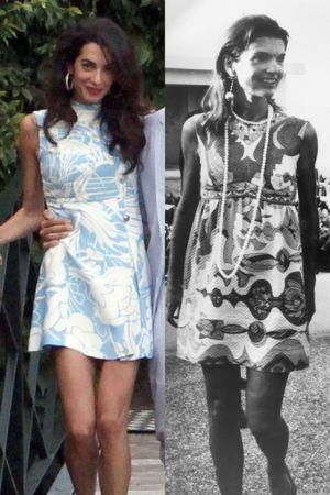 微高領印花洋裝 (2015 ; 1969)這幾季一直流行的印花洋裝,賈桂琳可是在1969年就穿了,搭上珍珠項鍊更多了優雅正式的感覺