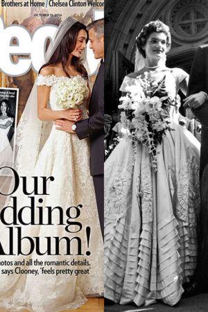 平口露肩婚紗 (2014;1953)兩人的婚紗其實也頗有雷同之處, 同樣都是平口露肩的款式, Amal將長髮放下搭配頭紗的模樣, 浪漫極了