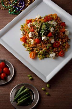 肯郡秋葵糙米毛豆沙拉 Spiced Okra with Corn, Broad Bean and Brown Rice