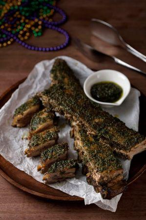 烤豬肋排佐綠香草醬 Roasted Pork Rib with Chimichurri Sauce