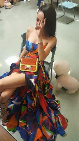 蔡依林今年擔任頒獎人的蔡依林,身穿Ralph Larent 2016春夏洋裝,雖然沒有走紅毯但造型仍舊是焦點,多色拼接的平口洋裝相當亮眼