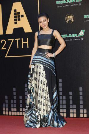 艾怡良擁有磁性嗓音的艾怡良選擇台灣設計師品牌Daniel Wong的春夏兩截式印花洋裝走紅毯,俐落線條不會過份隆重,搭配長馬尾相當適合她酷酷的形象