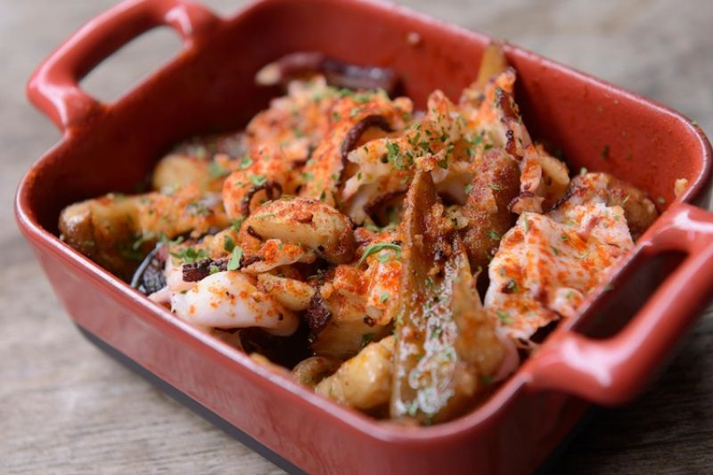 橄欖油野菇章魚