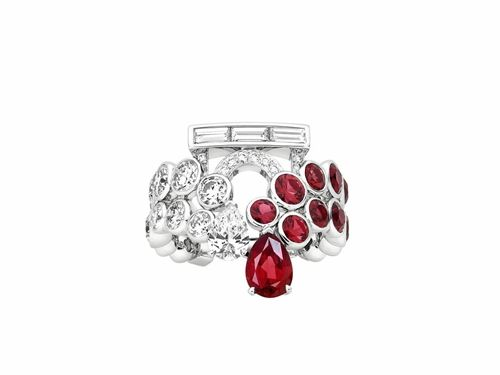 Champs Elysees系列戒指,白金,鑽石,紅色尖晶石,Louis Vuitton