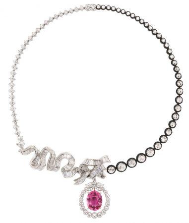 CHAMBRE DE LA REINE粉紅剛玉鑽石項鍊