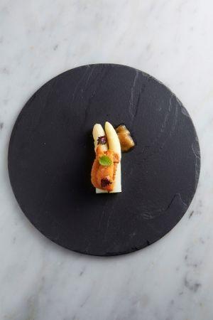 季節料理-海膽,白蘆筍,柚子愛玉,紫蘇