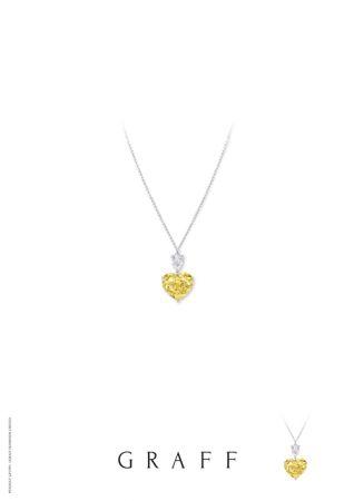 8.55克拉心形黃鑽和梨形白鑽吊墜,Graff Diamond