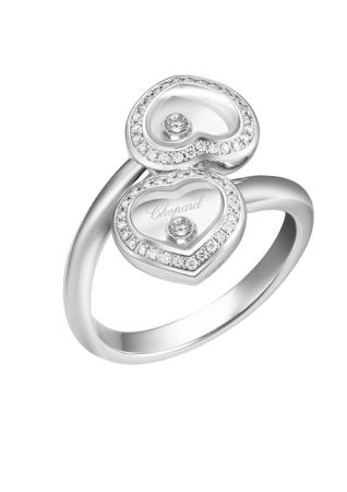 Happy Diamonds系列白金鑲嵌鑽石戒指,NT291,000,Chopard