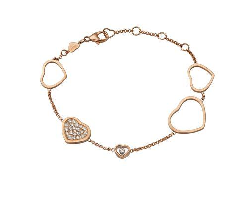Happy Hearts系列玫瑰金鑲嵌鑽石手鍊,NT187,000,Chopard