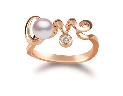 Love 系列粉紅金珍珠鑲鑽戒指,NT34,000,Mikimoto
