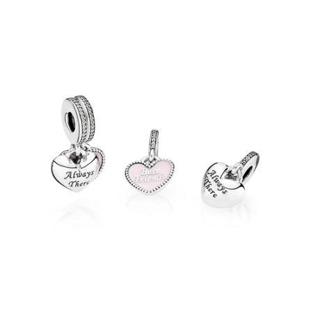 粉紅琺瑯鋯石純銀吊飾 ,NT3180,Pandora