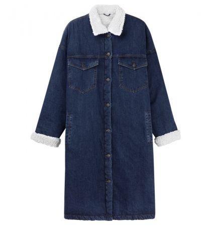 推薦一:羊毛皮革點綴的丹寧夾克,長版的夾克能修飾身型,結合羊毛皮的材質更加時髦。