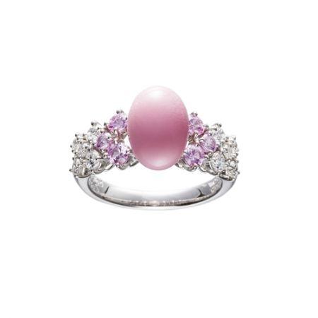 孔克珍珠鑽石粉紅「剛玉」戒指,Mikimoto
