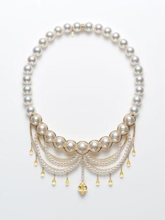 黃「剛玉」鑽石珍珠項鍊,Tasaki