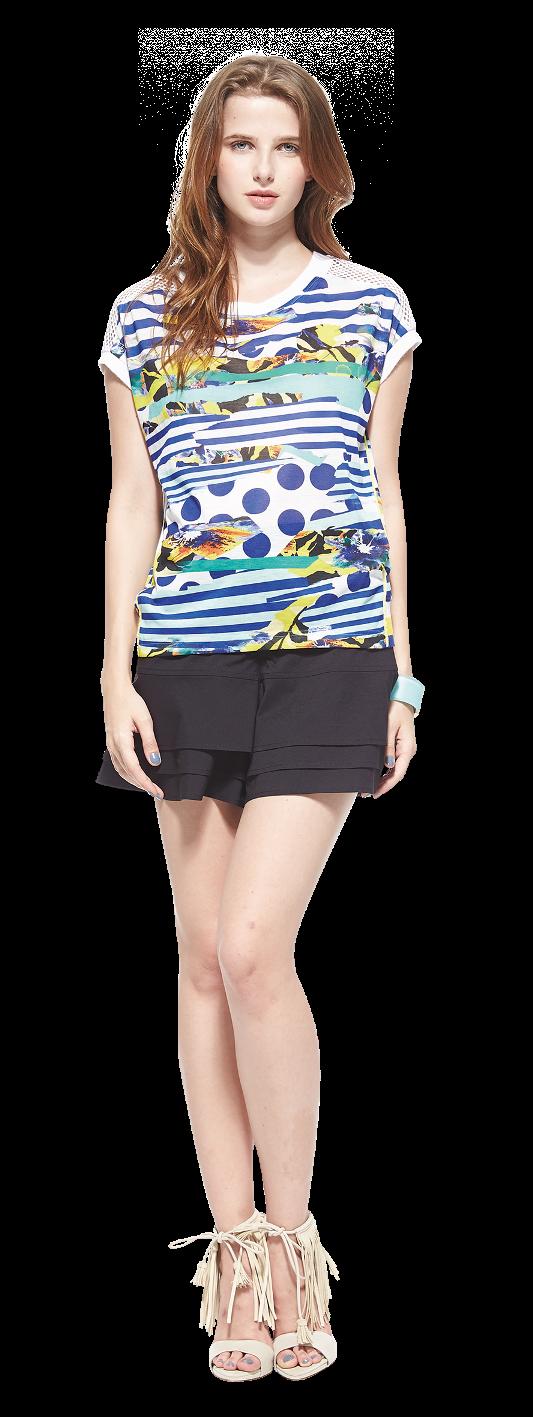 今夏各式圖騰印花當道,KeyWear圖騰印花垂袖上衣結合條紋、圓點等不規則印花圖騰,帶出女性活潑俏麗的夏日情懷。圖騰印花垂袖上衣,NT$3980