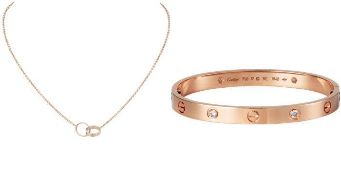 卡地亞LOVE系列玫瑰金項鍊卡地亞LOVE系列玫瑰金鑲嵌四顆鑽手環