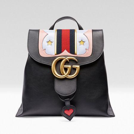 Angelababy使用款GG MARMONT雙G金屬釦飾愛心與星星圖騰後背包 $78,100