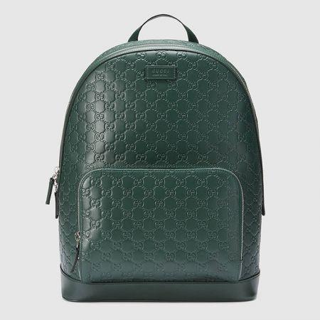 GUCCI SIGNATURE墨綠色經典壓紋後背包$74,100