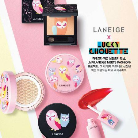 LANEIGE蘭芝x LUCKY CHOUETTE也將推出多達10色的唇妝,另外還有全新的眼頰兩用盤,上面有著栩栩如生的貓頭鷹浮雕。